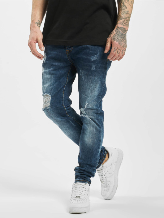 Aarhon Slim Fit Jeans Destroyed blau