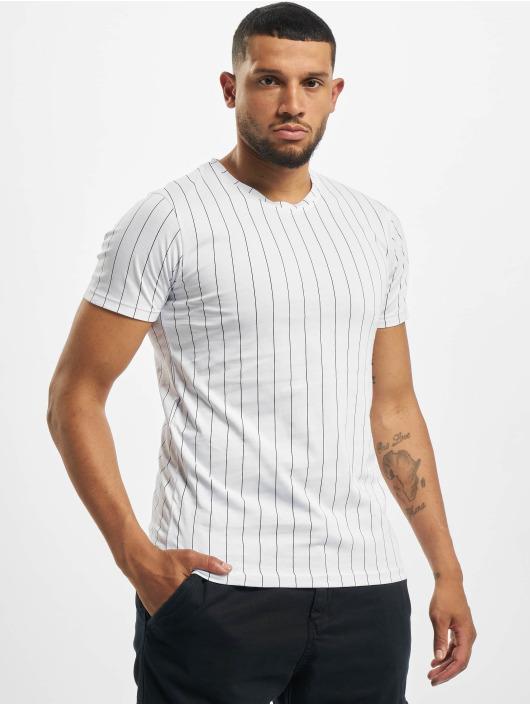 Aarhon T-Shirt Pinstripe blanc