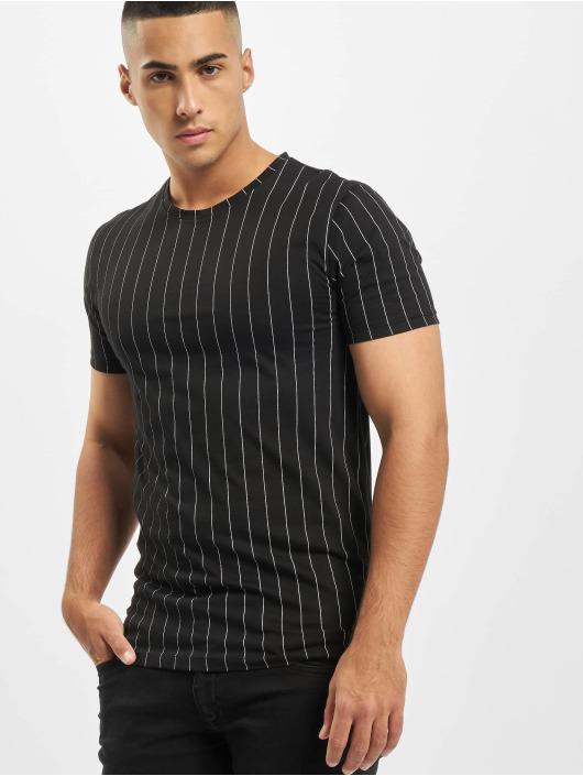 Aarhon T-Shirt Pinstripe schwarz