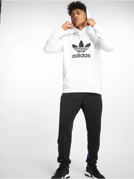 adidas Originals Bluzy z kapturem Trefoil bialy