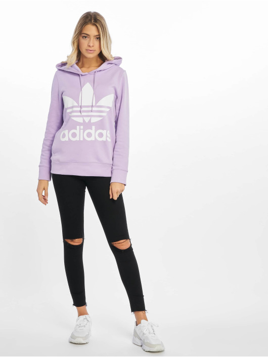adidas Originals Bluzy z kapturem Trefoil fioletowy