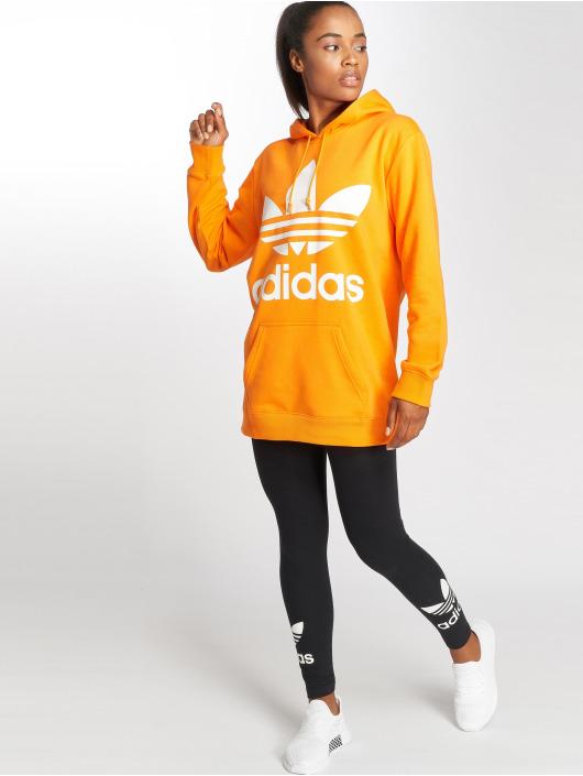 adidas originals Bluzy z kapturem BF Trefoil pomaranczowy