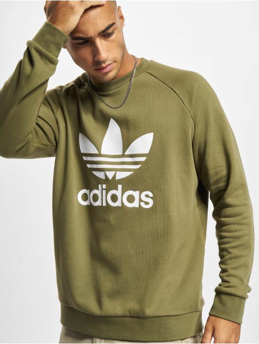 adidas Originals Pulóvre Trefoil Crew zelená