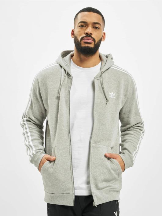 Adidas 3 Stripes Full Zip Hoody Medium Grey Heather