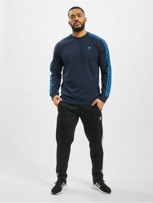 adidas Originals Tričká dlhý rukáv 3-Stripes modrá