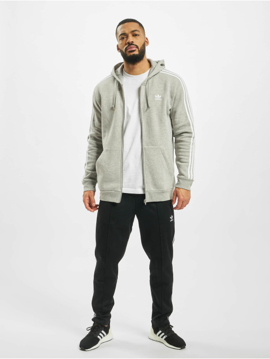 adidas Originals Zip Hoodie 3-Stripes Full grå