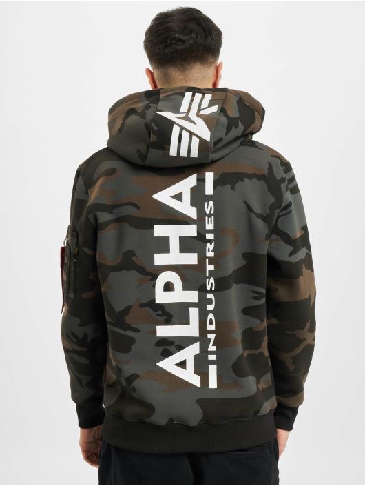 Alpha Industries Bluzy z kapturem Back Print Camo czarny