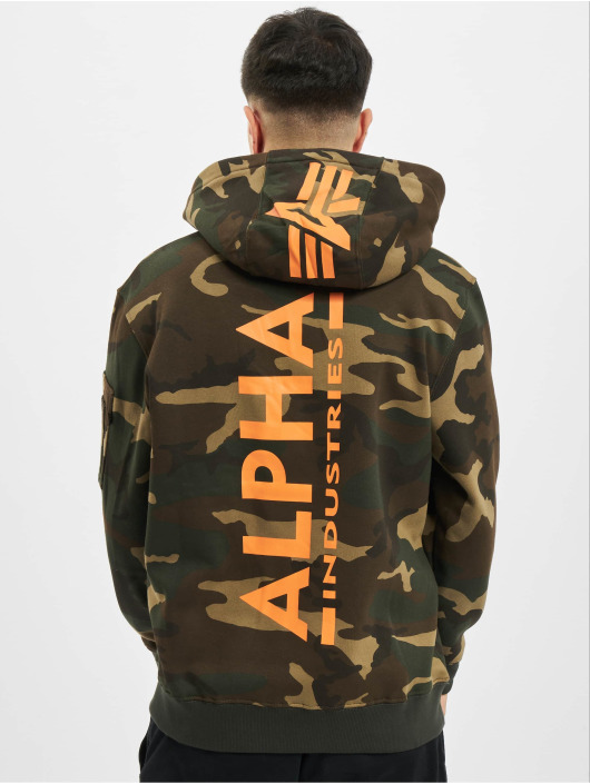 Alpha Industries Bluzy z kapturem Back Print Camo moro