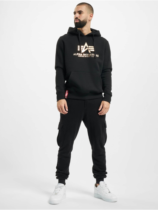 Alpha Industries Hoodie Industries Basic Foil Print black