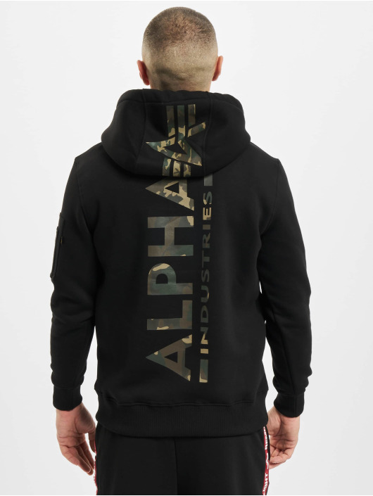 Alpha Industries Hupparit Back Print Camo musta