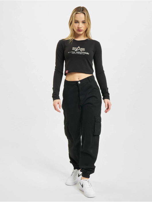Alpha Industries Longsleeve Basic Cropped Foil black