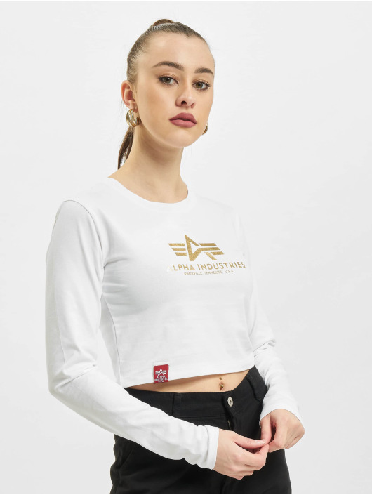 Alpha Industries Longsleeve Basic Cropped Foil Print weiß