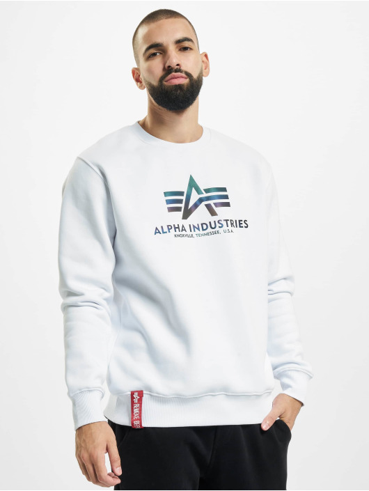 Alpha Industries Pullover Basic Rainbow Reflective Print white