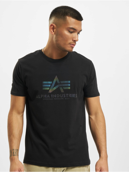 Alpha Industries T-Shirt Basic T Rainbow Reflective schwarz