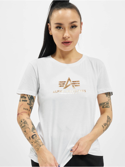Alpha Industries T-Shirt New Basic Foil Print white