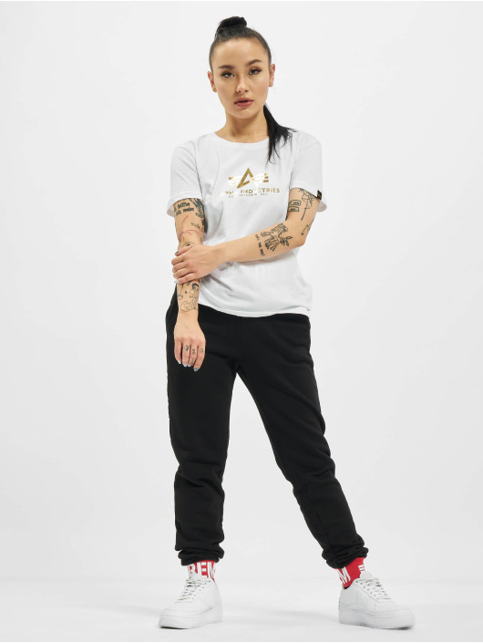 Alpha Industries T-Shirt New Basic Foil Print white