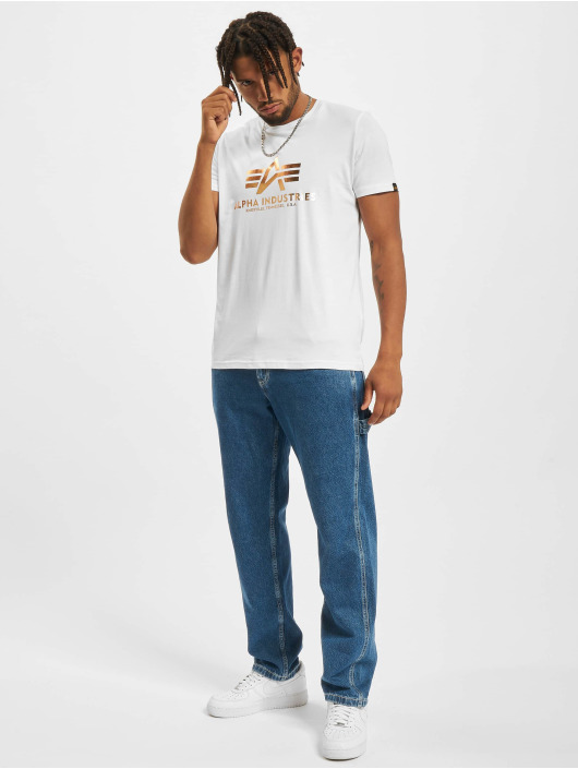 Alpha Industries T-Shirt Basic Foil Print white