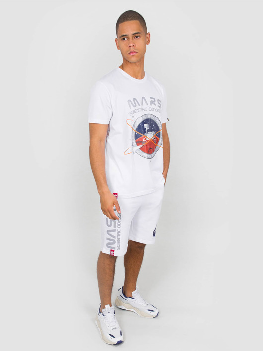 Alpha Industries T-Shirty Mission To Mars bialy