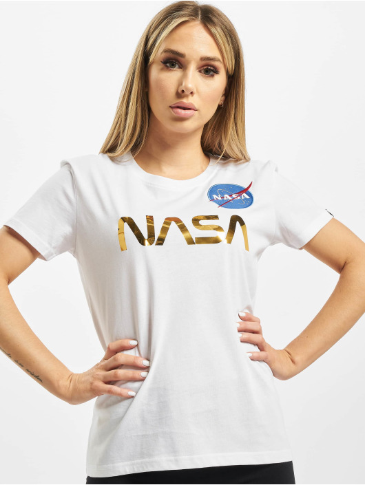 Alpha Industries T-Shirty Nasa PM T bialy