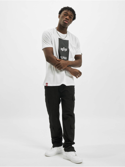 Alpha Industries T-Shirty Block Logo bialy