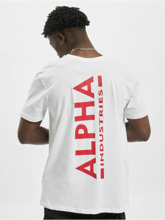 Alpha Industries T-Shirty Backprint bialy