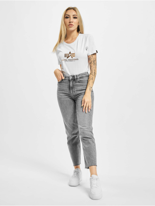 Alpha Industries T-Shirty New Basic Foil Print bialy