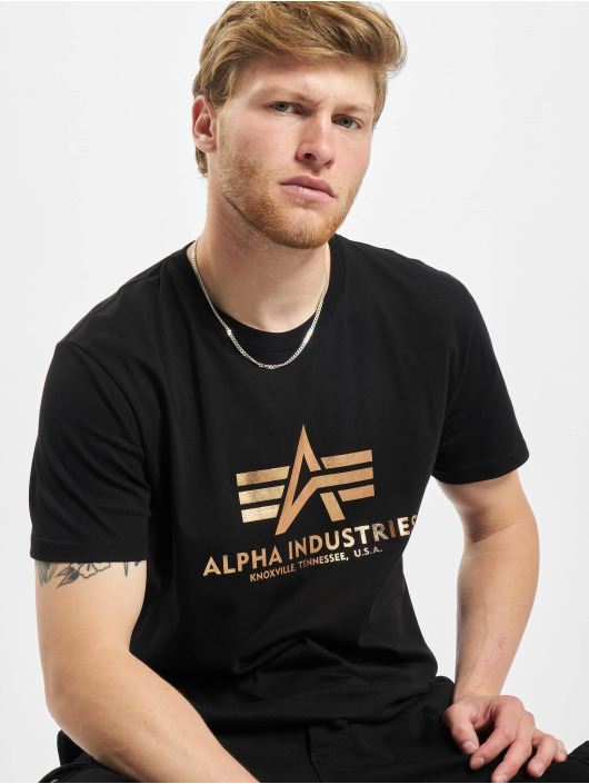 Alpha Industries T-Shirty Basic Foil Print czarny
