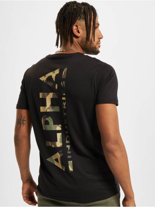 Alpha Industries T-skjorter Backprint Camo Print svart