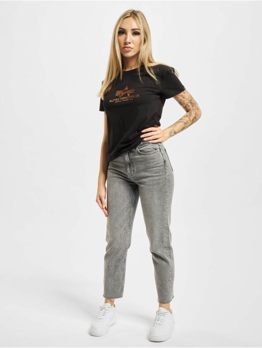 Alpha Industries T-skjorter New Basic Foil Print svart