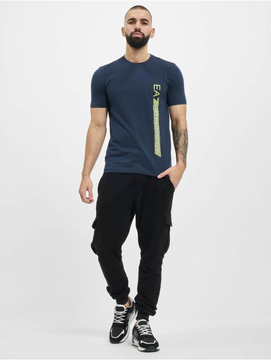 Armani T-Shirt Logo Stripe blau