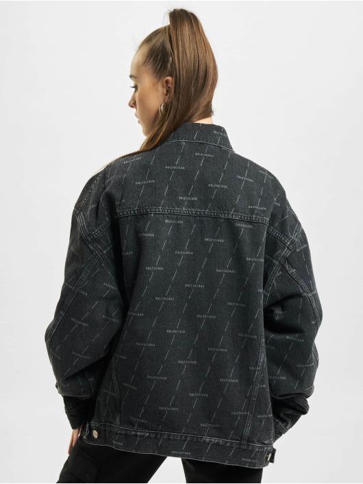Balenciaga джинсовая куртка Large Fit All Over Logo черный