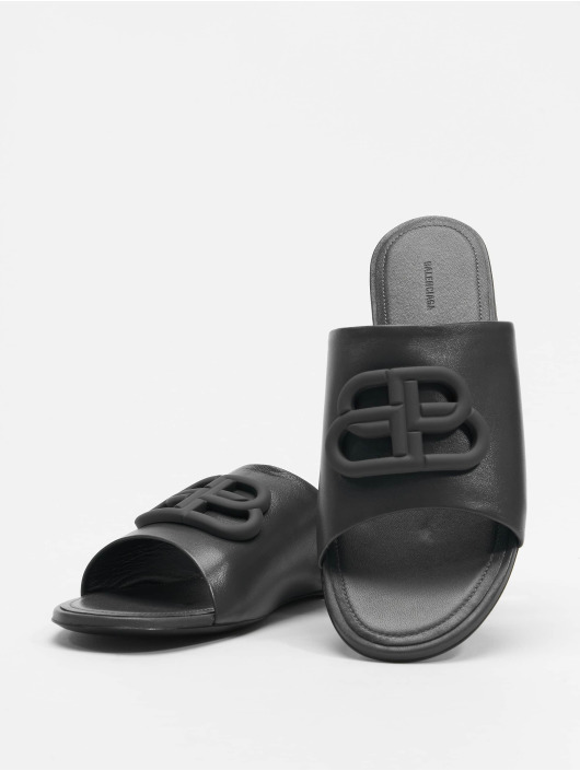 Balenciaga Badesko/sandaler Oval Flat Black Logo svart