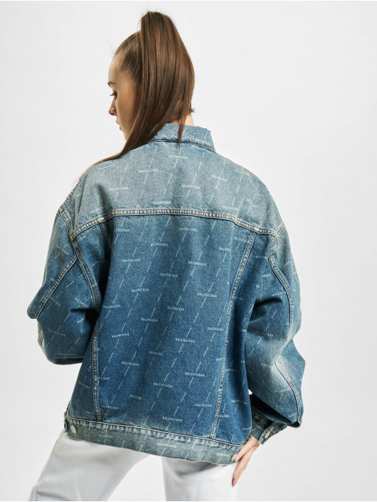 Balenciaga Denim Jacket Large Fit All Over Logo blue