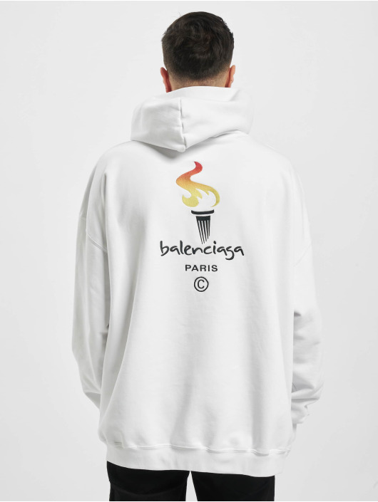 Balenciaga Hoodie Embroidered Logo Oversize vit