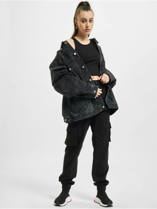 Balenciaga Jean Jakker Large Fit All Over Logo svart
