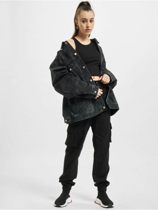 Balenciaga Kurtka Dzinsowa Large Fit All Over Logo czarny