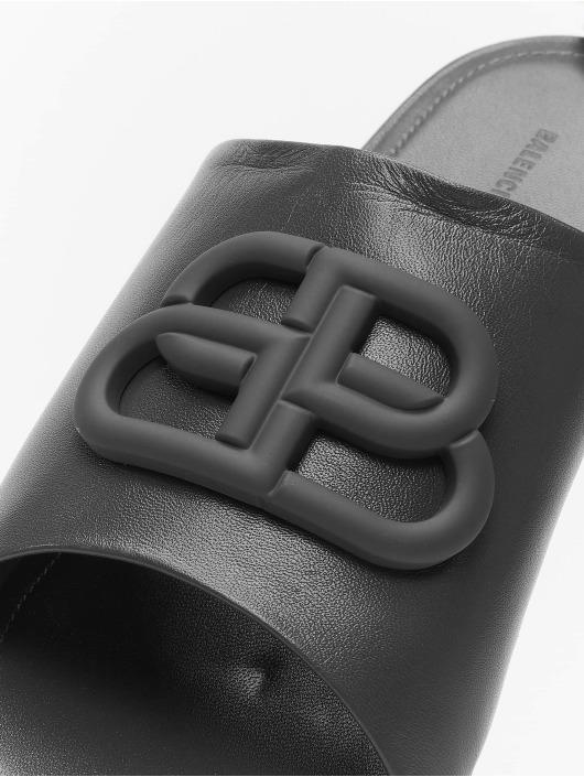 Balenciaga Sandal Oval Flat Black Logo sort