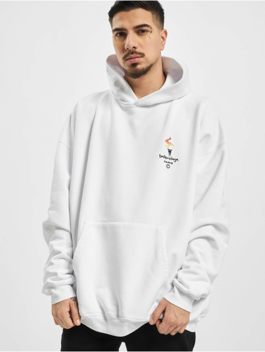 Balenciaga Sweat capuche Embroidered Logo Oversize blanc
