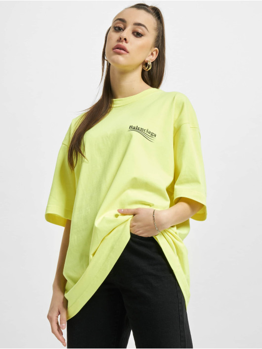 Balenciaga T-paidat Large Fit Politycal Logo keltainen