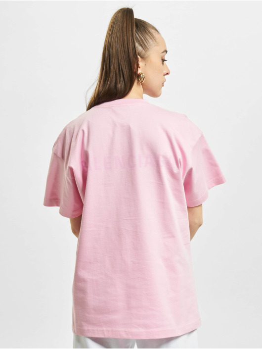 Balenciaga T-skjorter Back Logo lyserosa
