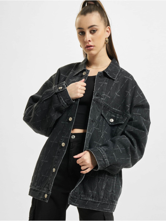 Balenciaga Veste Jean Large Fit All Over Logo noir