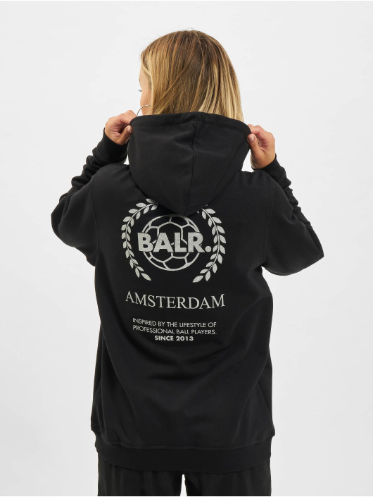 BALR Hoody Crest Print Back Amsterdam Loose zwart