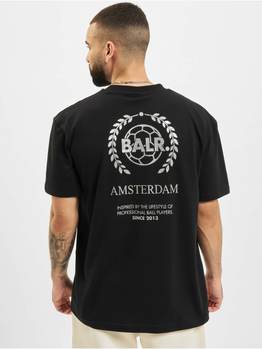 BALR T-shirts Crest Print Back Amsterdam Box Fit sort