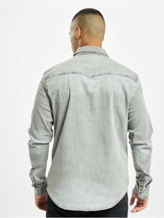 Brandit Camisa Riley Denim gris