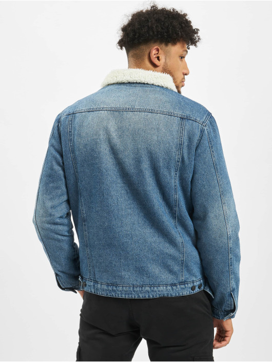 Brandit Denim Jacket Sherpa blue