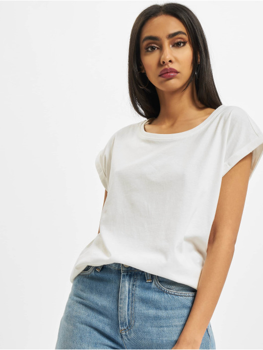 Build Your Brand T-Shirt Ladies Extended Shoulder white