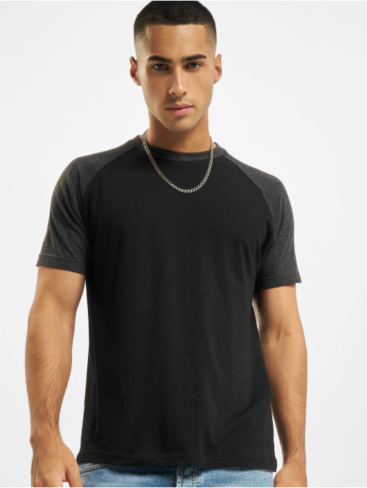 Build Your Brand t-shirt Raglan Contras zwart