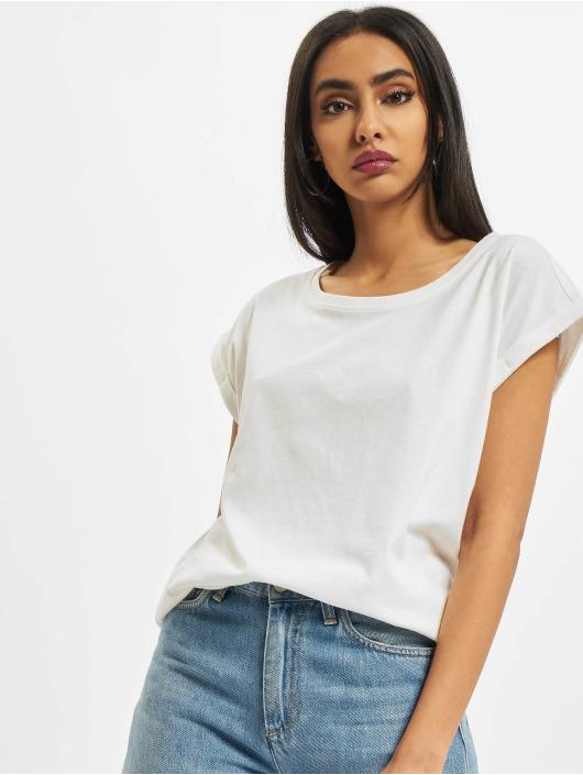 Build Your Brand Tričká Ladies Extended Shoulder biela