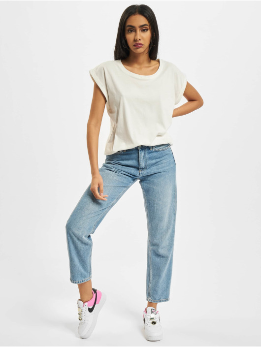 Build Your Brand Trika Ladies Extended Shoulder bílý