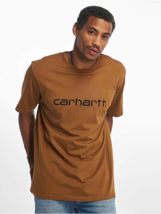 Carhartt WIP Trika Script hnědý